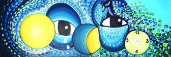 Occhi, acrilico su tela, 50 x 150 cm
