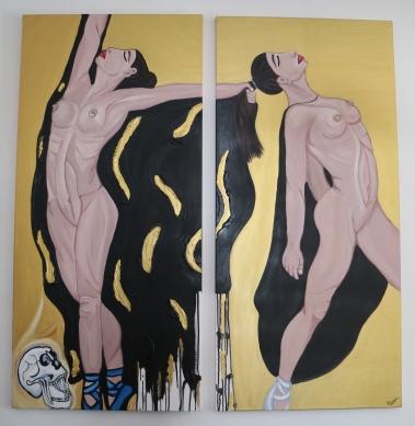 Ballerine, acrilico su tela, 140 x 150 cm (70 cm x 2)