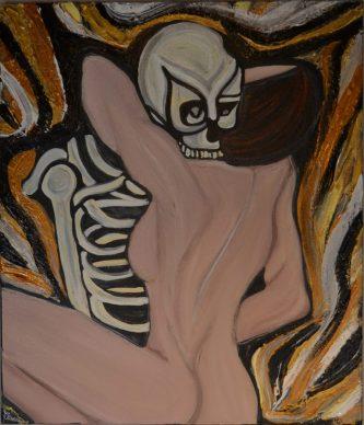 Abbraccio Mortale, acrilico su tela,60 x 70 cm